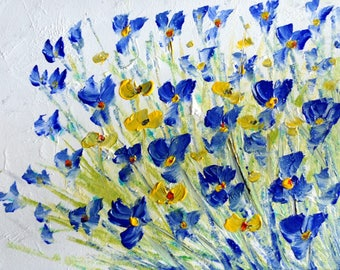 Blue White Flowers FORGET Me NOT Original Painting on Canvas