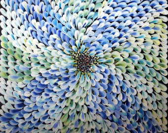BLUE Abstract Flower Painting PETALS Large White Green Cream Ivory Whimsical Artwork Ready to Ship 30x30 Canvas Ready to Hang