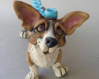 Ceramic Corgi Dog Sculpture Menorah or Hanukkiah