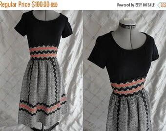 "ON SALE 60s Dress // Vintage 1960's Black Grey Houndstooth Orange Trim Dress by Howard Wolf Size S 24"" waist"