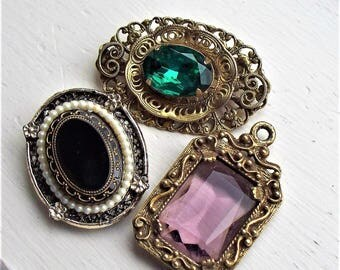 3 Vintage Glass Findings- Reuse, Upcycle, Clasp, Pendant, Brooch, Pin, Victorian Revival, Supplies, Supply