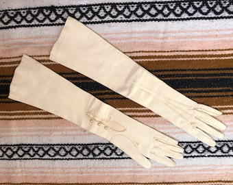 Vintage white leather womens long gloves