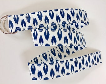 D Ring Belt, women's belt,  navy and white  M/L, ready to shiop