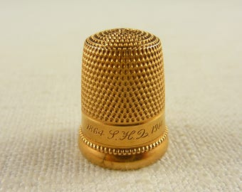 """Size 8 Vintage 1914 14K Gold Simons Brothers Thimble Engraved """"1864-1914"""""""
