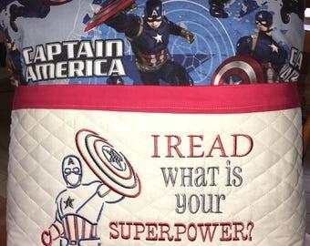Captain America reading pillow, pocket pillow