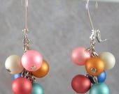 70% SALE Frosted Glass Beads Dangle on Chain earrings - summer earrings
