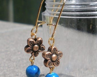 SALE, 50%, Daisy bead in copper with blue fossil bead