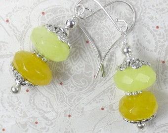 SALE, 50%, Candy Jade rondels in bright yellow and lemon ice yellow earrings - dangle earrings - yellow ice fantasy jade earrings