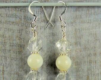 70% SALE Czech crystal and Pearl Drop earrings
