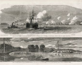 Antique US Civil War Print - Attack on Roanoke Island - Victorian Print - March 22, 1862 - Naval Battle