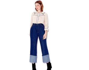 rare vintage ORANGE TAB LEVIS / omg giant cuff dark wash vintage levis 70s levis 70s jeans 1970s jeans high waisted jeans levi jeans
