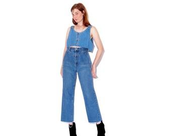 adorable WESTERN JEANS size medium 28 waist / high waisted jeans cropped raw hem mom jeans boyfriend jeans 80s 90s jeans boho western hippie
