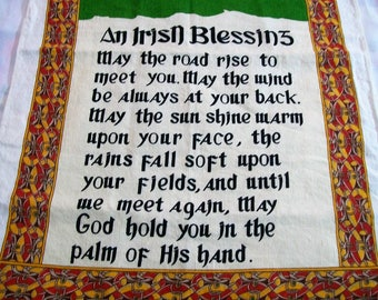 Vintage Irish Blessing Tea Towel, Wall Hanging, Irish wall hanging, An Irish Blessing, Linen Union, Fingal, Made in Ireland