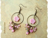 Boho Vintage Style Earrings, Pale Pink Romantic Earrings, Cherry Blossoms, Bohemian Jewelry, bohostyleme, Kaye Kraus