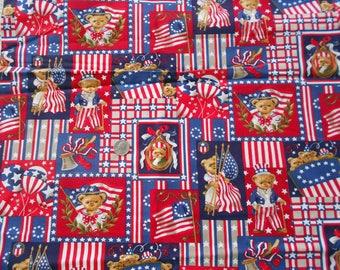 DESTASH, 1776 Patriotic Bears, USA Cotton Fabric, Red, White and Blue Fabric, 2.125 Yards Fabric