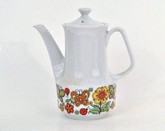 Mod 1960's Coffeepot with Butterflies and Flowers
