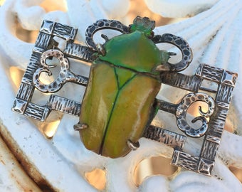 Rare Vintage Scarab beetle brooch c1920s Large unique Egyptian revival jewellery Art Nouveau Silver green bug*FREE SHIPPING