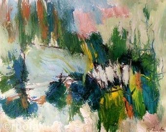 Woodland Expressive abstract painting green blue pink original acrylic art,  contemporary art decor, Potak