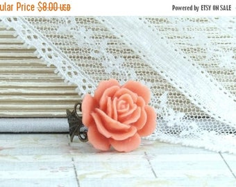 Orange Rose Ring Large Rose Ring Orange Flower Ring Coral Orange Ring Adjustable Ring Orange Floral Ring