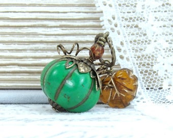 Green Pumpkin Necklace Thanksgiving Necklace Pumpkin Jewelry Fall Necklace Autumn Jewelry Pumpkin Gift