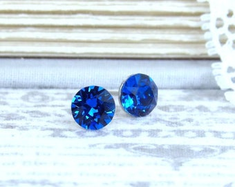 Dark Blue Studs 6mm Stud Earrings Blue Crystal Studs Something Blue Swarovski Studs Surgical Steel Studs