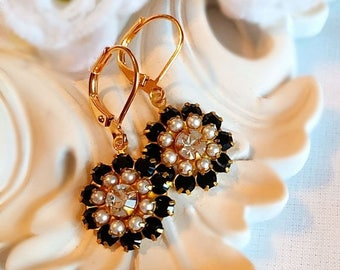SALE 20% Off Black Flower Earrings - Romantic - Italian Renaissance Jewelry - FIORE Black Tie