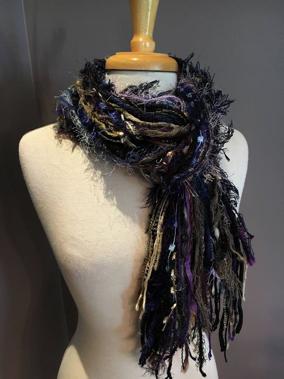 Fringie Scarf, Shadows, Knotted handmade Scarf, Purple blue taupe black fringe scarf, boho fashion, accessories, funky scarves, artsy scarf