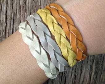 100% Real Leather Braided Wrist Band