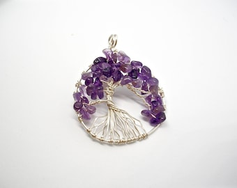 Amethyst Tree of Life Pendant February Birthstone Wire Wrapped