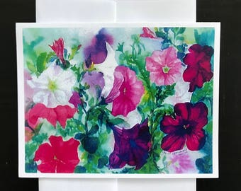 Fine Art Giclee Print Image Made Into Note Card With Colorful Floral Petunia Blooms Garden Pure Summer Time Beauty by Janet Dosenberry