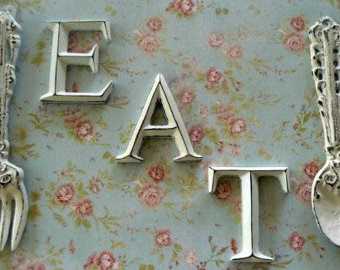 Fork Spoon Eat Wall Decor Set Shabby Chic White Kitchen Dining Home Decor