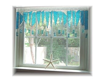OOAK Tide Pool Turquoise Stained Glass Window Treatment Kitchen Valance Curtain