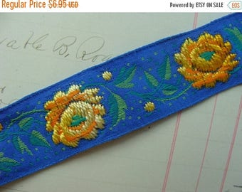 ONSALE Gorgeous Unused Fancy High End Vintage Roses Embroidered Ribbon Yardage