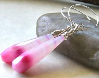 Summer Sale 20% Off Pink Stripe Chalcedony Earrings, Ombre Pink Earrings, Neon Bright Pink Teardrop Earrings, Simple Modern Pink Earrings