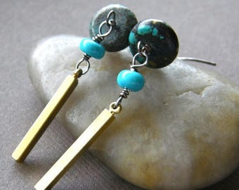 Summer Sale 20% Off Turquoise and Gold Brass Earrings, Blue-Green Turquoise and Vintage Brass Dangle Earrings