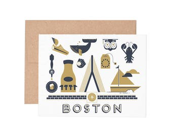 Boston Letterpress Greeting Card - Blank Card | Greeting Cards |