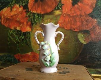 Pink Bud Vase Ceramic Vintage Green White Floral Shabby Chic Vanity Tray Brush Holder
