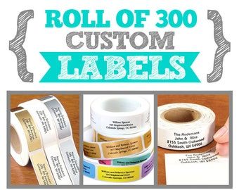 Roll of 300 Custom Sticker Labels - 2 x 3/4 inches - Address labels, Branding tags, Name tags, Packaging stickers, Party, Wedding Favors