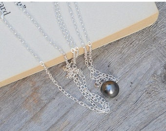 Summer Sale Dark Grey Pearl Necklace In Sterling Silver, Handmade In England