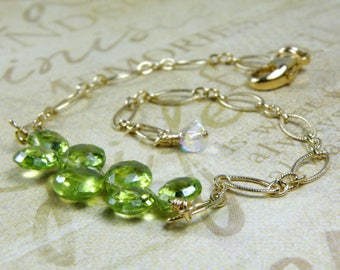 Dainty Peridot Bracelet, Gold Filled, Natural Bright Green Stone, August Birthstone Birthday Gift, Summer Wedding Jewelry Ready to Ship