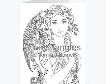 Printable Fairy Tangles Greeting Cards to Color Norma Burnell 5x7 inch Fairy Dragon Cards for Coloring Card Making Fairies dragons to Color