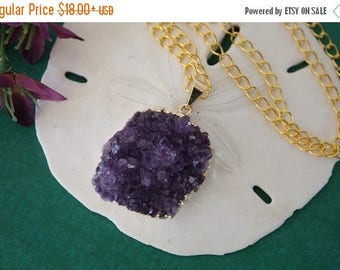 ON SALE Amethyst Cluster Necklace Gold, Amethyst Pendant, Amethyst Geode, Raw, AP1