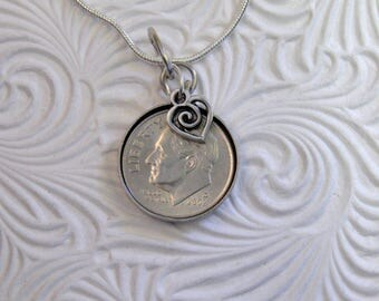"""2002 US Dime Pendant and Necklace- 15th Anniversary-24"""" Sterling Silver Chain-Coin Jewelry"""