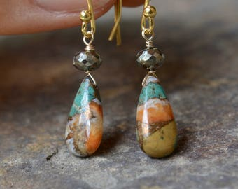 Spiny Oyster Turquoise and Pyrite Earrings