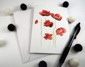 Poppies Watercolor Greeting Card - watercolor poppy flowers