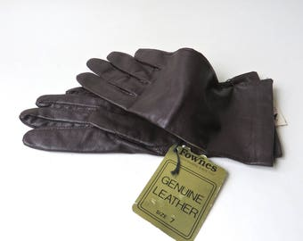 Fownes vintage Espresso Bean Brown Leather Gloves NOS / Fownes Dark Brown Leather Gloves Deadstock / Pomeroy's Department Store