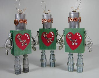 Christmas Ornament  Found Object Star Robot Sculpture Assemblage Holiday