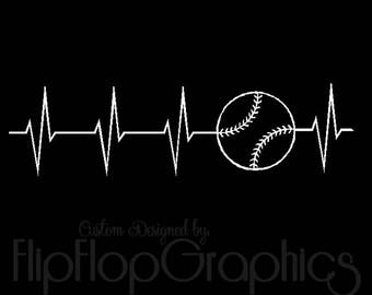 Baseball Heartbeat - Baseball is Life - Vinyl Graphic Sticker