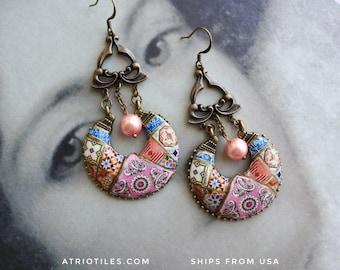 Chandelier Earrings Portugal Tile Azulejo Bohemian Antique Faberge Aveiro - Russian Gypsy Bohochic OOAK