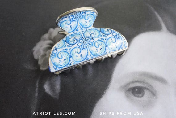 Hair Clip Portugal Tiles Blue Azulejos 16th Century - Tomar - Convent of Christ built in 1160 - Camellias - Metal